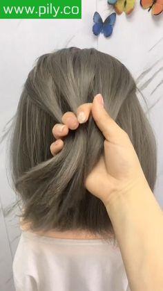 Hairdo For Long Hair, Braids For Short Hair, Cute Hairstyles For Short Hair, Long Hair Dos, Girl Short Hair, Girl Hairstyles, Short Hair Styles Easy, Medium Hair Styles, Short Hair Hacks