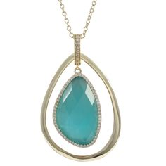 Aqua Cat's Eye Gold Plated Sterling Silver Teardrop Pendant from The Luxe Store