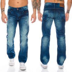 Rock-Creek Herren Jeans Cargo Style Stone Washed Clubwear Hose W30-W42 RC-2010
