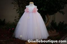 Light Pink with White Flower Girl TuTu Dress. by giselleboutique, $125.00