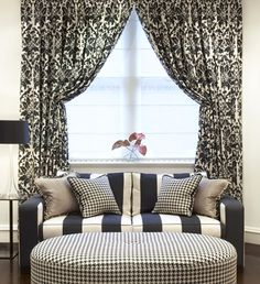 love this so much, you can't ask for more ~ houndstooth, stripes, damask ~ all in black, so beautiful