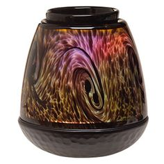 Elegant, hand-blown art glass in an organic tiger's eye pattern. Color-changing LED provides a spectrum of subtly changing light. #scentsy
