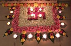 Diwali rangoli Diwali rangoli Diwali rangoli Diwali ran. Diwali Decoration Lights, Thali Decoration Ideas, Diwali Decorations At Home, Home Wedding Decorations, Flower Decorations, Mandir Decoration, Rangoli Designs Flower, Rangoli Designs Diwali, Flower Rangoli