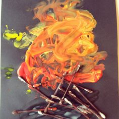The Little Tots have been talking about bonfire night this week which is celebrated on the November now they are old enough to understand more about it (aged 2 - 4 years). We already had fun trying out different methods of painting firework pi. Eyfs Activities, Nursery Activities, Sensory Activities Toddlers, Painting Activities, Bonfire Night Activities, Bonfire Night Crafts, Autumn Activities, Bonfire Ideas, Fire Safety Crafts