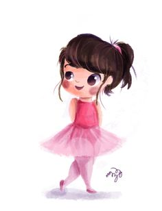 Cute painting of a little ballerina by                                                Gaby Zermeño