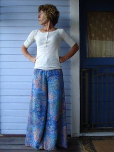 1960s Psychedelic Chiffon Palazzo Bell Bottom Pants by bycinbyhand, $55.00