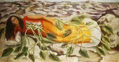 프리다 칼로와 페미니즘: <뿌리, 프리다 칼로> 프리다 칼로는 소아마비와 불임의 고통을 예술로 승화하였고, 그녀의 작품은 멕시코의 국보로 높게 평가된다. 그녀의 미술의 특징은 멕시코 고유 미술의 특징으로 페미니즘 운동에 앞장섰다는 점이다. 그녀의 작품 뿌리에는 멕시코 여인과 자연 환경이 묘사되었고, 여인에게 뿌리가 나듯이 인간의 뿌리가 여자에 있음을 보여주는 작품이라고 한다. (한편, 그녀의 그림의 대부분을 차지하는 여인들에게는 얕은 수염이 그려진 점이 재밌는데, 이 그림 역시 그렇다.)