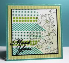 lovely handmade card with washi tape ... just place the tapes side by side on one half of the paper and stamp your image in black lines over it and the white part .... makes a  lovely and complex card ...