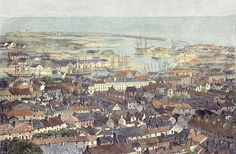 Hand-coloured wood engraving by Smyth(from a Daguerrotype),in the Illustrated London News,19 Aug 1848 of Swansea Town.