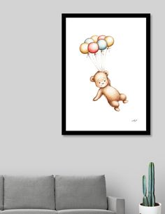 «Teddy Bear with Balloons», Numbered Edition Art Print by Anna Abramska - From $24.9 - Curioos