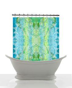 Artistic Shower Curtain, Batik Green and Blue Watercolor Paisley, green, blue, shower, bath, home, decor,