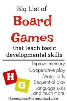 Board Games that Teach Developmental Skills. Improve memory, motor skills, language skills, cooperation, and much more!