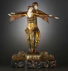 'The Dancers', An Exceptional Chryselephantine Ivory and Cold Painted Bronze Art Deco Figural Group by Lucille Sévin for Etling.   French, Circa 1930.
