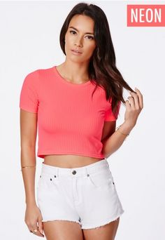 Lucila Ribbed Crop Top With Curved Hem - Tops - Crop Top & Bralets - Missguided