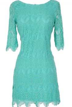 Vintage-Inspired Lace Overlay Dress in Turquoise  www.lilyboutique.com