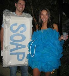 Bar of Soap and a Loofah (The best way to do the loofah, is to buy a cheap dress and add LOTS of Tulle)