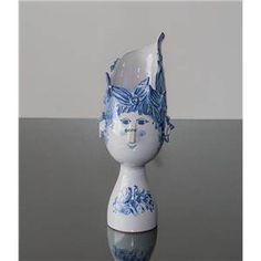 Wiinblad Titania Vase hånddekoreret, blå/hvid decoration