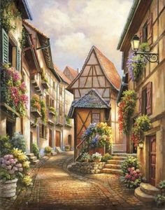 Village Court - Counted cross stitch pattern in PDF format by Maxispatterns on Etsy