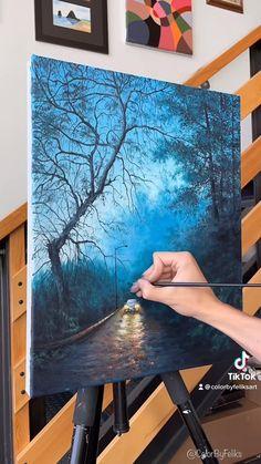 Canvas Painting Tutorials, Diy Canvas Art, Acrylic Painting Canvas, Painting Techniques, Acrylic Landscape Painting, Hope Painting, Canvas Painting Designs, Small Canvas Art, Painting Videos