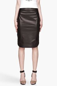 GIVENCHY Black Round Hem buffed Nappa Pencil Skirt