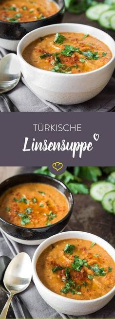 Diese würzige Linsensuppe zaubert dir eine Prise Orient in deinen Suppentopf. R… This spicy lentil soup conjures up a pinch of Orient in your soup pot. Red lentils blend with fine spices to a real culinary delight! Veggie Recipes, Low Carb Recipes, Soup Recipes, Vegetarian Recipes, Cooking Recipes, Healthy Recipes, Vegan Vegetarian, Lentil Recipes, Healthy Drinks