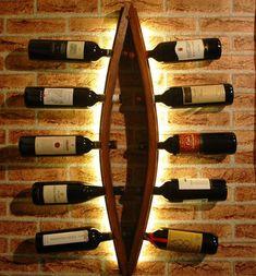 Porta bottiglie in legno Wine rack bottle Wood Wine Racks, Wine Rack Wall, Wood Wine Holder, Ideas Para Madera, Wine Barrel Crafts, Wine Rack Design, Diy Home Bar, Wine Barrel Furniture, Barrel Projects