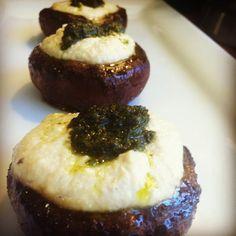 Marinated Portobellos With Cashew Cheese and Pesto #vegan #recipe