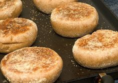 Whole Wheat English Muffins  To make my own, I found several variations on classic English muffin recipes and started cooking. A half-dozen or more batches later, I hit the right combination by using the dough from one recipe and the shaping technique from another. Whether you use a knife or fork to split the muffins before toasting them is up to you.