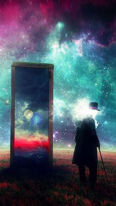 Download Wallpaper 938x1668 Man, Mirror, Space, Art