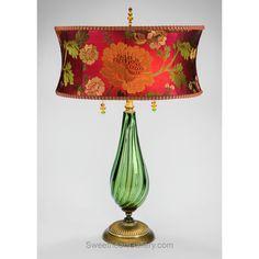 Margot Table Lamp, Kinzig Design, Green, Fuchsia, Red, Salmon, Blown Glass, Silk Shade, Artistic Artisan Designer Table Lamps