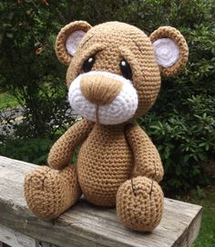 Little Brown Teddy Bear Amigurumi Crochet Pattern PDF. PDF file only.Love the eye brows add on after done