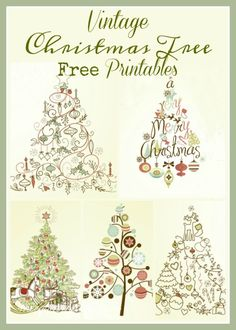 Five Vintage Christmas Tree Printables