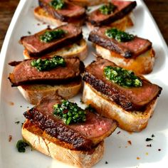 #Steak #Pinchos Topped with #Chimichurri