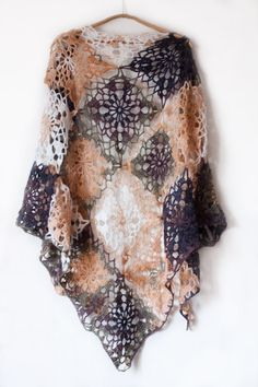 Crochet mohair shawl, crochet mohair wrap, crochet motif shawl, beige green brown purple color by SanniKnitting on Etsy