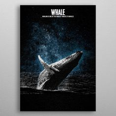 Whales are a widely distributed and diverse group of fully aquatic placental marine mammals. metal poster