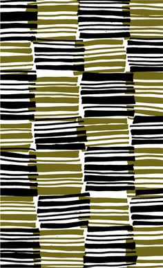 Green and Black stripes - drawn and digital pattern - Sarah Bagshaw