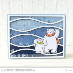Another polar bears card on my blog today. The Horizontal Snow Drifts Cover-Up Die-namics is a good match to these waving polar bears! Right?  #mftstamps #birdiebrown #handmadecards #cardmaking #shakercard #polarbear #mftdienamics