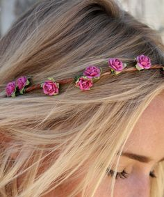 Eterie Dainty Pink Rose Flower Crown