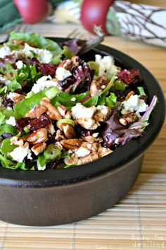 Cherry, Pecan & Goat Cheese Salad with Homemade Balsamic Vinaigrette