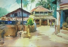 """Watercolour on paper ....... 6"""" x 8"""" It is not early morning scene .. ( after 9 am ) ..... but light was fresh & climate was little cold too ...... I want to catch that freshness"""