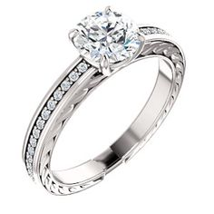 WHILEMINA style 122045 Accented Sculptural Detailed Engagement Ring  #everandeverbridal