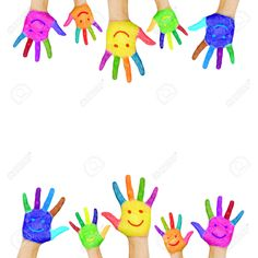 Frame of colorful hands painted with smiling faces Fun, joy, happiness and good cheer Baby, child and adult hands Joyful party or celebration Isolated on white background , Islamic Patterns, Cool Face, Good Cheer, Smile Face, Creative Art, Design Inspiration, Hand Painted, Wallpaper, Children