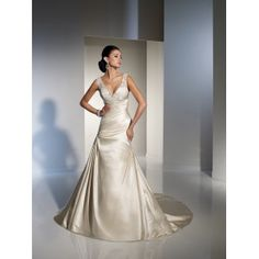Satin V-Neckline with Dropped Waistline and Side Draped Skirt with Strapless Sweetheart Neckline 2011 A-Line Wedding Dress WD-0933 - Wedding Gowns & Dresses - Wedding Dresses Online Shop