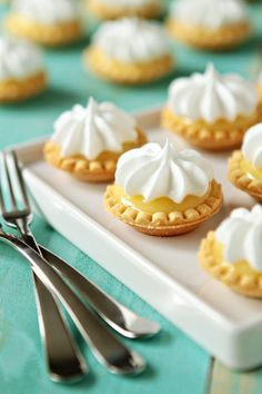 Mini Lemon Meringue Pies are made simple by using homemade microwave lemon curd and store bought tart shells.