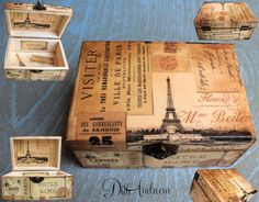 Wooden box Christmas gift decoupage box shabby chic box by ArtDidi Cajas Shabby Chic, Shabby Chic Boxes, Diy Decoupage Projects, Decoupage Box, Wooden Jewelry Boxes, Wooden Boxes, Rue Montmartre, Cigar Box Crafts, Matchbox Crafts