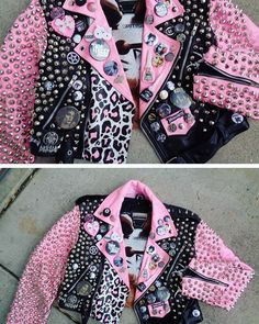 🎀💕Ahhh muyyy punk rock💕🎀 I have a mint jacket and I deffff need to making it super kawaii especially since it will match my hair. 🇳🇮🕷🎃🕸💕❤️👑💅🏽 #punk#pastel#pink#leatherjacket#studded#studdedjacket#punkjacket