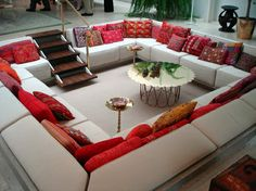 Built in sofa in the center of the living room.