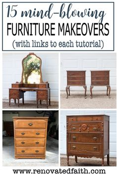 Who knew furniture transformations like this could be SO easy?!? These painted furniture before and after reveals include step-by-step tutorials, best makeover colors, ideas and fun diy furniture techniques all without chalk paint! Included is painted dining room furniture (before and after) as well as pictures of painted bedroom furniture. I answer common questions like what to seal painted furniture with, tips for bohemian style projects, and how to coordinate furniture and living room… White Washed Furniture, Painted Bedroom Furniture, Chalk Paint Furniture, Distressed Furniture, Farmhouse Furniture, Repurposed Furniture, Dining Room Furniture, Painted Furniture, Refurbished Furniture