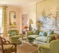 Meg Braff: such a pretty room with fresh greens & creamy wall color; stunning mural!!