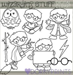 Wizard Clipart Set -Personal and Limited Commercial- Cute Wizard, Owl, Wand, and Broom Blackline Clip art Clipart, Harry Potter Cards, Imprimibles Harry Potter, Harry Potter Classroom, Wizard School, Halloween Doodle, Harry Potter Collection, Digi Stamps, Coloring Pages